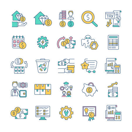 Financial management RGB color icons set. Cash, liquid asset. Bank account. Mortgage loan. Residential rentals. Transaction monitoring. Earnings, income. Raising capital. Isolated vector illustrations