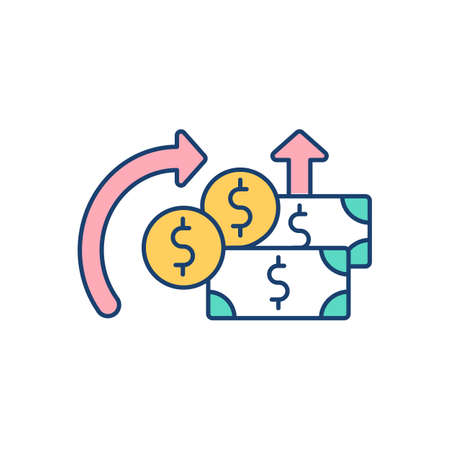 Money circulation RGB color icon. Depositing and withdrawing money. Monetary economics. Banknotes and coins. Account balances. Transactions between consumer and business. Isolated vector illustration