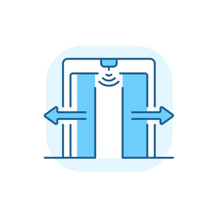 Automatic door blue RGB color icon. Door that opens automatically with use of sensor which triggers when person comes in front of it. Isolated vector illustration Ilustração Vetorial