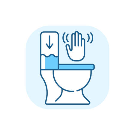 Touchless toilet flush blue RGB color icon. Advanced flushing systems that do not require contact with any surfaces to flush waste. Isolated vector illustration