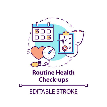 Routine health checkups concept icon. Patient examination. Clinical check. Hospital service. Family doctor idea thin line illustration. Vector isolated outline RGB color drawing. Editable stroke