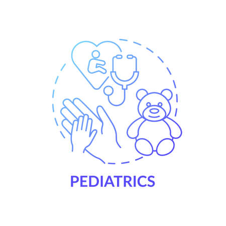 Pediatrics blue gradient concept icon. Children healthcare. Professional clinical support for kids. Family doctor idea thin line illustration. Vector isolated outline RGB color drawing