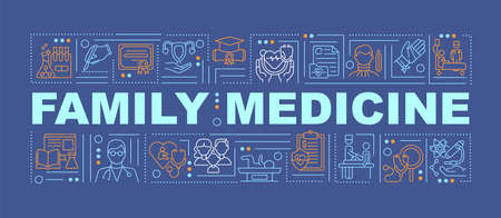 Family medicine word concepts banner. Disease treatment in medical facility. Infographics with linear icons on navy background. Isolated typography. Vector outline RGB color illustration Vektoros illusztráció