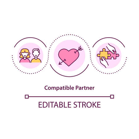 Compatible partner concept icon. Find person that suits you to live with. Meeting new love of life idea thin line illustration. Vector isolated outline RGB color drawing. Editable stroke