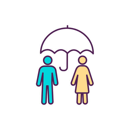 Health coverage RGB color icon. Insurance. Financial hardship support. Covering health care costs. Treatment, rehabilitation. Expenses incurred from illness, injury. Isolated vector illustration
