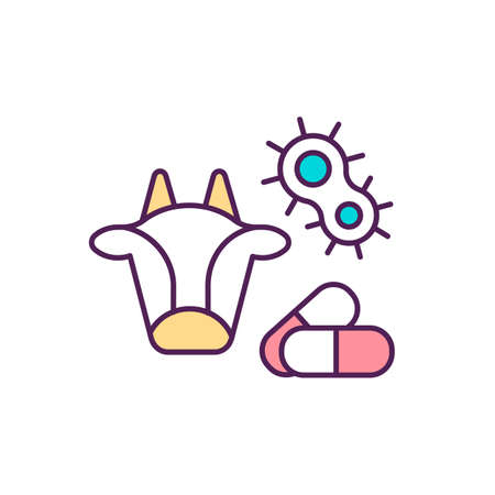 Veterinary pharmaceutical drugs RGB color icon. Therapeutic treating. Organic farming. Infections prevention. Animal antibiotics. Using medication for livestock husbandry. Isolated vector illustration
