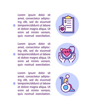 Health insurance concept line icons with text. PPT page vector template with copy space. Brochure, magazine, newsletter design element. Support for disabled people linear illustrations on white Vetores