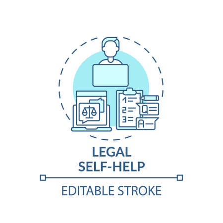 Legal self help concept icon. Legal services categories. Develops and distributes legal self protect materials idea thin line illustration. Vector isolated outline RGB color drawing. Editable stroke
