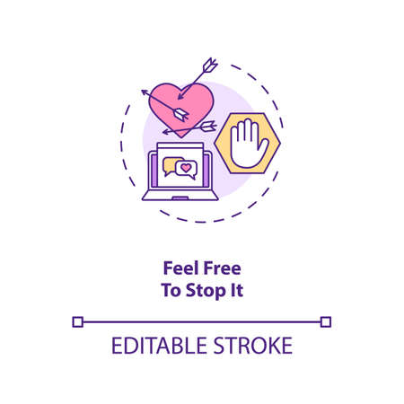Feel free to stop chatting or dating concept icon. End abusive relationship idea thin line illustration. Wounded heart and stop symbol vector isolated outline RGB color drawing. Editable stroke