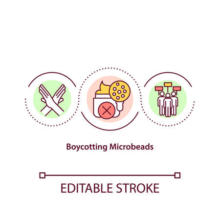 Boycotting microbeads concept icon. Microplastic pollution idea thin line illustration. Modern eco movement. Global warming problem. Vector isolated outline RGB color drawing. Editable stroke
