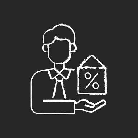 Mortgage broker chalk white icon on black background. Credit advisor. Consultation on baking and financial planning. Brokerage and intermediary services. Isolated vector chalkboard illustration Vektoros illusztráció