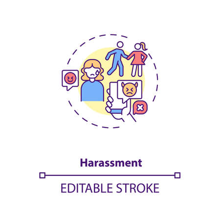 Online dating harassments concept icon. Aggression in internet app ideas thin line illustration. Partner chasing, negative messages, abuse vector isolated outline RGB color drawing. Editable stroke