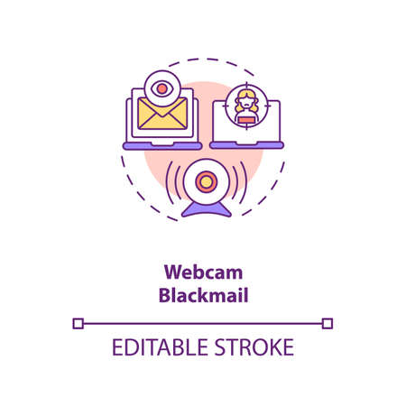 Blackmail on dating website webcam concept icon. Avoid people taking screenshot from talking thin line illustration. Nude video call vector isolated outline RGB color drawing. Editable stroke