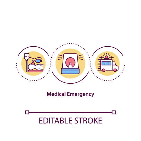 Medical emergency concept icon. Acute injury or illness that poses immediate risk to person life. Medicine idea thin line illustration. Vector isolated outline RGB color drawing. Editable stroke