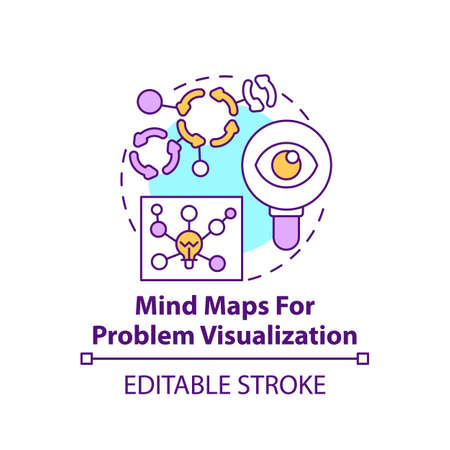 Mind maps for problem visualization concept icon. Chart for brainstorming strategy. Method for finding solution idea thin line illustration. Vector isolated outline RGB color drawing. Editable stroke