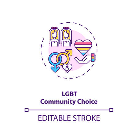 Lgbt community choice concept icon. Homosexual relationship, wedding, family ideas thin line illustration. Lesbian and couple tolerance vector isolated outline RGB color drawing. Editable stroke