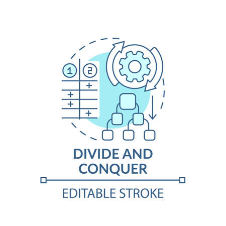 Divide and conquer blue concept icon. Task management. Method for decision making. Problem solving strategy idea thin line illustration. Vector isolated outline RGB color drawing. Editable stroke
