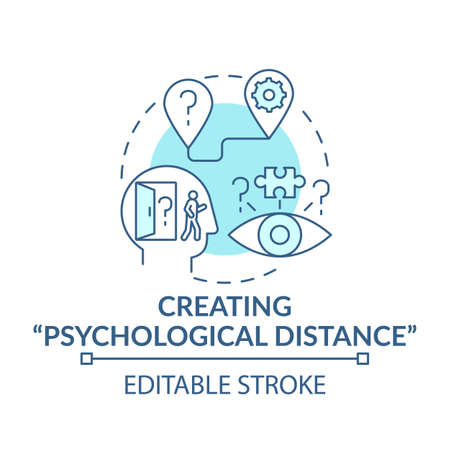 Creating psychological distance blue concept icon. Strategy for decision making. Problem solving and analysis idea thin line illustration. Vector isolated outline RGB color drawing. Editable stroke