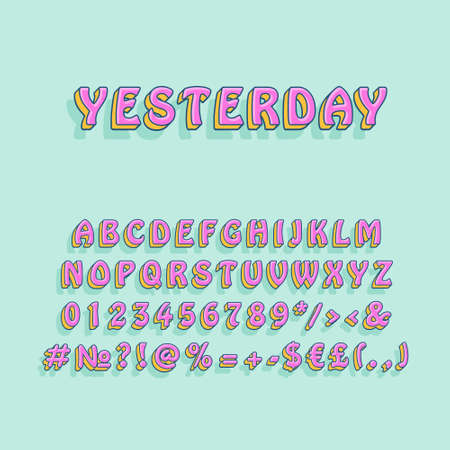 Yesterday vintage 3d vector alphabet set. Retro bold font, typeface. Pop art stylized lettering. Old school style letters, numbers, symbols pack. 90s, 80s creative typeset design template