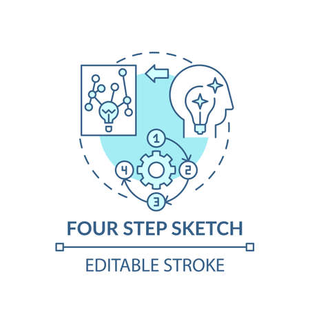 Four step sketch blue concept icon. Creative thinking. Strategy for making decisions. Problem solving idea thin line illustration. Vector isolated outline RGB color drawing. Editable stroke