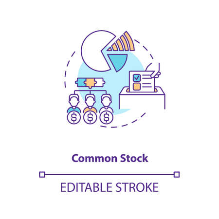 Common stock concept icon. Stock type idea thin line illustration. Owning share in company profits. Corporate equity ownership. Vector isolated outline RGB color drawing. Editable stroke Vecteurs