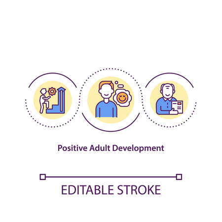 Positive adult development concept icon. Physical and intellectual maturity idea thin line illustration. Emotional stability. Meaningfulness. Vector isolated outline RGB color drawing. Editable stroke
