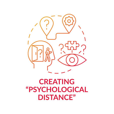 Creating psychological distance red gradient concept icon. Strategy for decision making. Problem solving and analysis idea thin line illustration. Vector isolated outline RGB color drawing