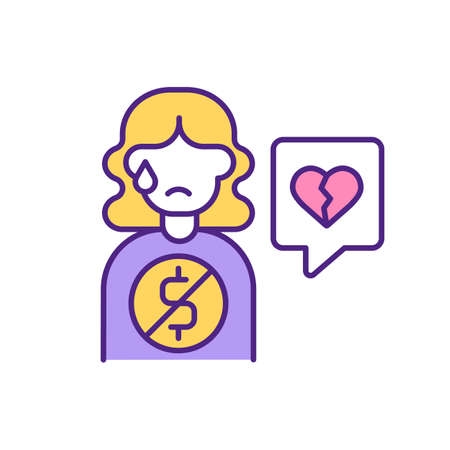 Online scammers requesting money from dating app woman user RGB color icon. Blackmail and fraud on internet. Steal money and break young female heart isolated vector illustration