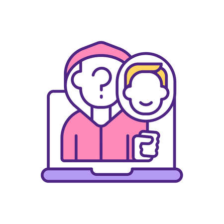 Fake user on dating app RGB color icon. Anonymous person. Pretending someone else. Hiding personality. Unknown member trying to find couple with dishonest approach isolated vector illustration
