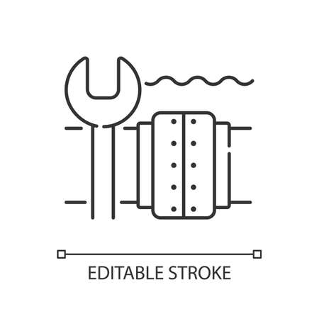 Underwater pipeline repair linear icon. Subsea pipeline integrity repairing. Offshore environment. Thin line customizable illustration. Contour symbol. Vector isolated outline drawing. Editable stroke