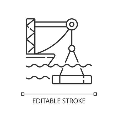 Underwater construction linear icon. Marine construction industry. Placing concrete under water. Thin line customizable illustration. Contour symbol. Vector isolated outline drawing. Editable stroke