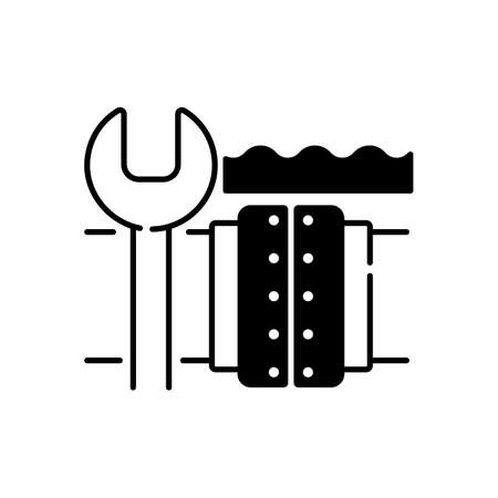 Underwater pipeline repair black linear icon. Subsea pipeline integrity repairing and reinforcing. Offshore and subsea environments. Outline symbol on white space. Vector isolated illustration