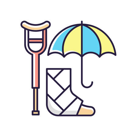 Disability insurance RGB color icon. Wage replacement for disabled employee. Adequate health coverage. Covering expenses for illness, injury treatment. Medical conditions. Isolated vector illustration