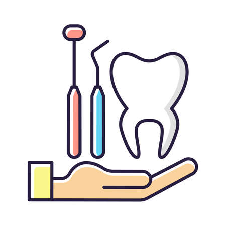 Dental insurance RGB color icon. Dental care. Healthy teeth achieving. Checkups for dental disorder prevention. Covering dentist visit. Care about teeth, gums and mouth. Isolated vector illustration