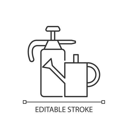 Watering can and hand sprayer linear icon. Healthy garden maintenance. Fertilizers application. Thin line customizable illustration. Contour symbol. Vector isolated outline drawing. Editable stroke
