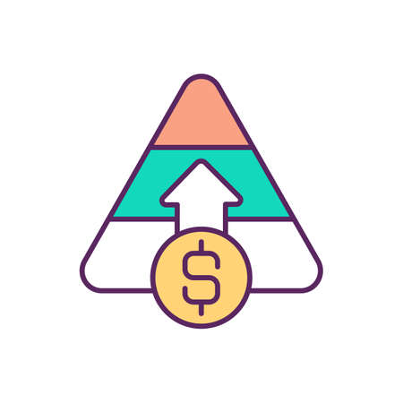 Capital raising RGB color icon. Equity financing. Company viability. Raising funding for business. Obtaining money and funds. Stock sales. Purchasing company shares. Isolated vector illustration