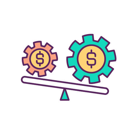 Market instability RGB color icon. Inflation. Change in asset price. Economy in unstable environment. Increased volatility in market trading. Currency fluctuations. Isolated vector illustration
