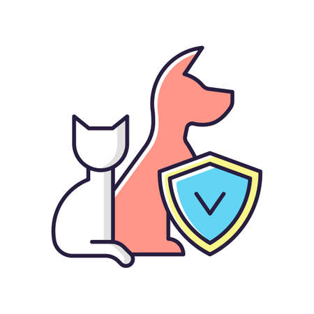 Pet insurance RGB color icon. Pet-care policy. Accident and illness plan. Exorbitant vet bills coverage. Payment for dog, cat injuries. Expensive vet procedures. Isolated vector illustration