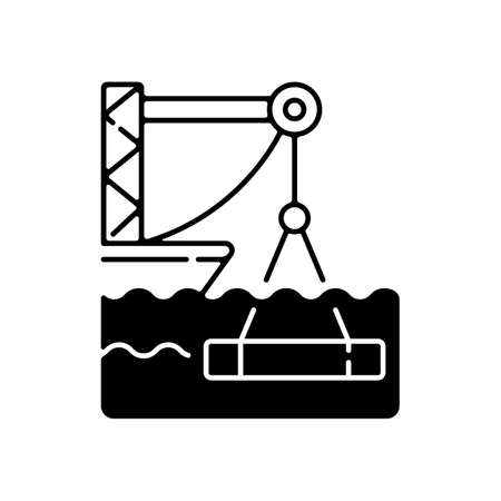 Underwater construction black linear icon. Marine construction industry. Placing concrete under water. Installing watertight floor, walls. Outline symbol on white space. Vector isolated illustration Vektorové ilustrace