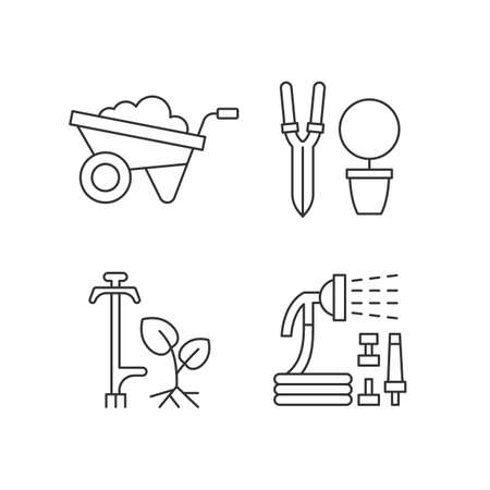 Garden accessories linear icons set. Wheelbarrow. Pruning shears. Weed puller. Hosepipe with sprayer. Customizable thin line contour symbols. Isolated vector outline illustrations. Editable stroke