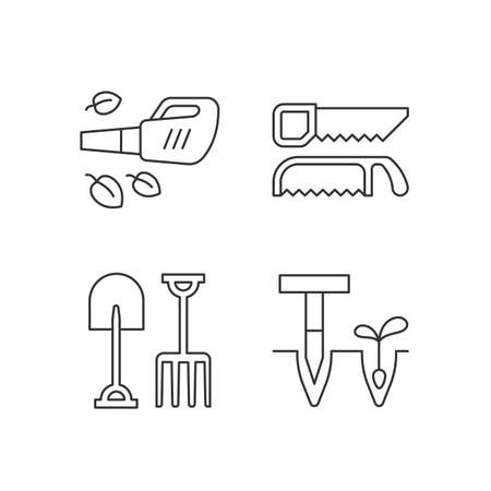 Garden instruments linear icons set. Leaf blower. Saws. Fork, spade. Cleaning up leaves. Loosening soil. Customizable thin line contour symbols. Isolated vector outline illustrations. Editable stroke