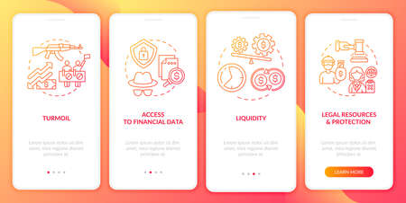 Global stock challenges onboarding mobile app page screen with concepts. Protection, liquidity walkthrough 4 steps graphic instructions. UI, UX, GUI vector template with linear color illustrations