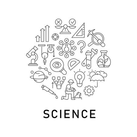 Science abstract linear concept layout with headline. Lab testing. Laboratory research minimalistic idea. Scientific analysis thin line graphic drawings. Isolated vector contour icons for background