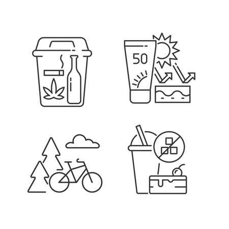 Healthy habits linear icons set. Quit bad habits. Skin protection. Outdoor activity. Change lifestyle. Customizable thin line contour symbols. Isolated vector outline illustrations. Editable stroke