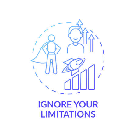 Ignore your limitations blue gradient concept icon. Motivation for success. Positive mindset. Self development idea thin line illustration. Vector isolated outline RGB color drawing