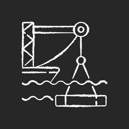 Underwater construction chalk white icon on black background. Marine construction industry. Placing concrete under water. Installing watertight floor, walls. Isolated vector chalkboard illustration