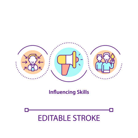 Influencing skills concept icon. Effective leadership. Authority in business. Teamwork in problem solving idea thin line illustration. Vector isolated outline RGB color drawing. Editable stroke Vector Illustratie