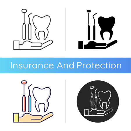 Dental insurance icon. Dental care. Healthy teeth achieving. Checkups for dental disorder prevention. Covering dentist visit. Linear black and RGB color styles. Isolated vector illustrations