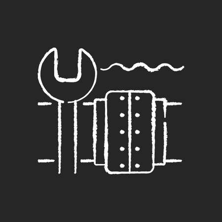 Underwater pipeline repair chalk white icon on black background. Subsea pipeline integrity repairing and reinforcing. Offshore and subsea environments. Isolated vector chalkboard illustration