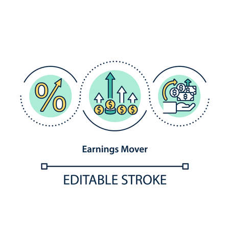 Earnings mover concept icon. Stock that are becoming more expensive. Money increasing investment idea thin line illustration. Vector isolated outline RGB color drawing. Editable stroke